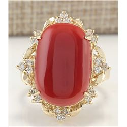 12.38CTW Natural Coral And Diamond Ring In 14K Yellow Gold