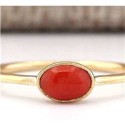 0.60 CTW Natural Coral Ring In 14k White Gold