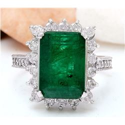 7.28 CTW Natural Emerald 14K Solid White Gold Diamond Ring