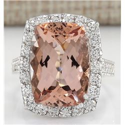 13.03 CTW Natural Morganite And Diamond Ring In 18K White Gold
