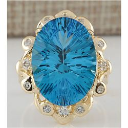 13.85 CTW Natural Topaz And Diamond Ring In 18K Yellow Gold