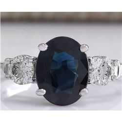 2.45 CTW Natural Blue Sapphire And Diamond Ring 18K Solid White Gold