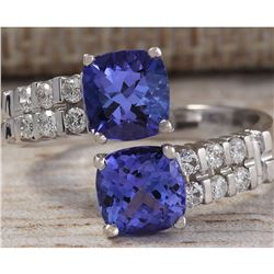 3.33 CTW Natural Blue Tanzanite And Diamond Ring In 18K Solid White Gold