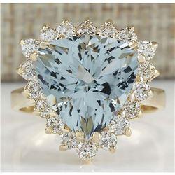 5.84 CTW Natural Aquamarine And Diamond Ring 18K Solid Yellow Gold