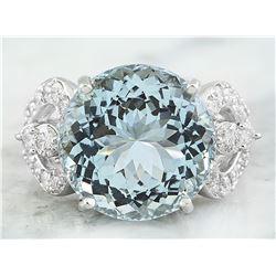 10.71 CTW Aquamarine 18K White Gold Diamond ring
