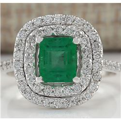 2.00 CTW Natural Colombian Emerald And Diamond Ring In 18K White Gold