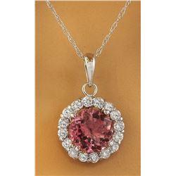 1.82 CTW Tourmaline 14K White Gold Diamond Necklace