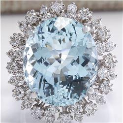 15.86 CTW Natural Aquamarine And Diamond Ring In 18K White Gold