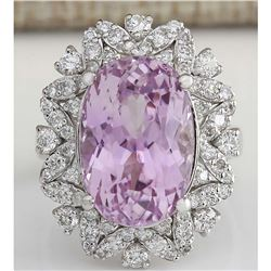 12.00 CTW Natural Kunzite And Diamond Ring 18K Solid White Gold