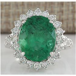 8.93 CTW Natural Colombian Emerald And Diamond Ring In 18K White Gold