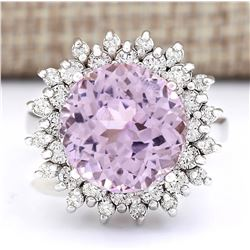 12.37 CTW Natural Kunzite And Diamond Ring In 18K White Gold
