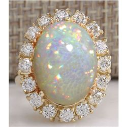 8.03 CTW Natural Ethiopian Opal And Diamond Ring In 14K Solid Yellow Gold