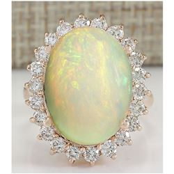 7.64 CTW Natural Opal And Diamond Ring In 18K Rose Gold