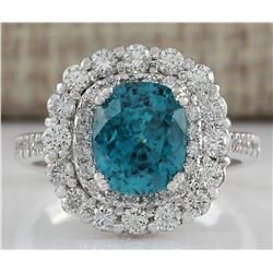 6.54 CTW Natural Blue Zircon And Diamond Ring 18K Solid White Gold