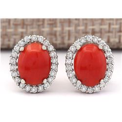 2.95 CTW Natural Coral And Diamond Earrings 18K Solid White Gold