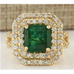 6.10 CTW Natural Emerald And Diamond Ring In 18K Yellow Gold