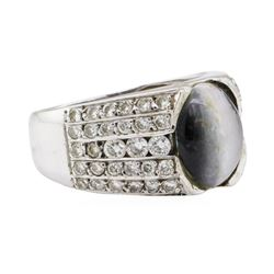 2.90 ctw Dyed Cat's Eye and Diamond Ring - 10KT White Gold