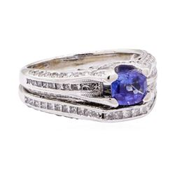 2.59 ctw Sapphire Stone And Diamond Ring And Attached Band - 18KT White Gold