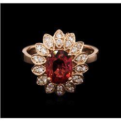 2.22 ctw Pink Tourmaline and Diamond Ring - 14KT Rose Gold