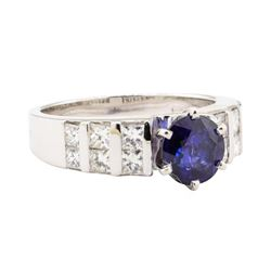 2.16 ctw Blue Sapphire And Diamond Ring - 14KT White Gold