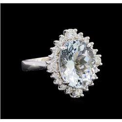 4.68 ctw Aquamarine and Diamond Ring - 14KT White Gold