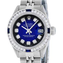 Rolex Ladies Stainless Steel Blue Vignette Diamond & Sapphire Datejust Wristwatc