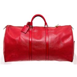 Louis Vuitton Rouge Epi Leather Keepall 60 cm Duffle Bag Luggage