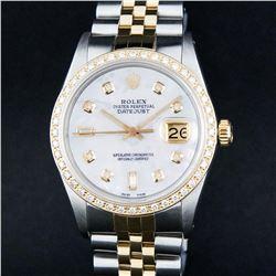 Rolex Mens 2 Tone 14K Mother Of Pearl Baguette Diamond Datejust Wristwatch