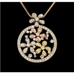 14KT Tri-Tone Gold 2.32 ctw Diamond Pendant With Chain