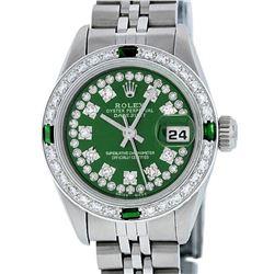Rolex Ladies Stainless Steel Green Emerald & Diamond Datejust Wristwatch