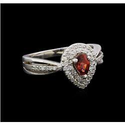0.50 ctw Diamond and Tourmaline Ring - 14KT White Gold