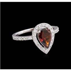 1.35 ctw Tourmaline and Diamond Ring - 14KT White Gold
