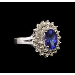 14KT White Gold 1.65 ctw Tanzanite and Diamond Ring