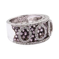 2.35 ctw Pink Sapphire And Diamond Band - 18KT White Gold