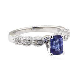 1.60 ctw Sapphire and Diamond Ring - 18KT White Gold
