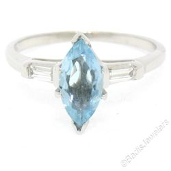 Vintage 14kt White Gold 1.20 ctw Marquise Aquamarine and Baguette Diamond Ring