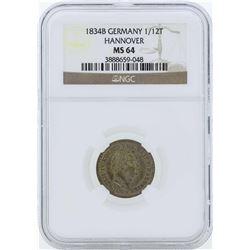 1834B Germany 1/12 Thaler Hanover Coin NGC MS64