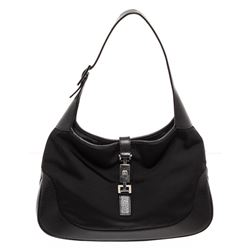 Gucci Black Canvas Leather Trim Jackie Shoulder Bag