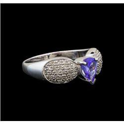 14KT White Gold 0.70 ctw Tanzanite and Diamond Ring