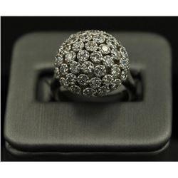 2.50 ctw Diamond Flower Design Ring - 14KT White Gold