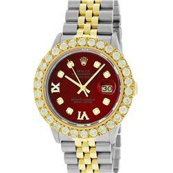 Rolex Mens 2 Tone Red VS 4 ctw Beadset Diamond Datejust Wristwatch with Rolex Bo