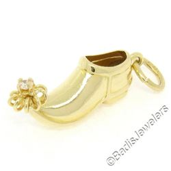 Vintage 14kt Yellow Gold 0.04 ctw Diamond Elf Genie Shoe Charm Pendant