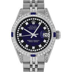 Rolex Ladies Stainless Steel Diamond Lugs MOP Blue Vignette Diamond Datejust Wri