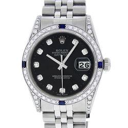 Rolex Mens Stainless Steel Diamond Lugs Black Diamond & Sapphire Datejust Wristw