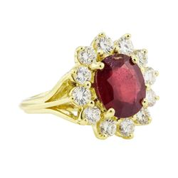 5.51 ctw Ruby and Diamond Ring - 18KT Yellow Gold