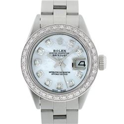 Rolex Ladies Stainless Steel MOP Diamond 18K Gold Bezel Datejust Wristwatch