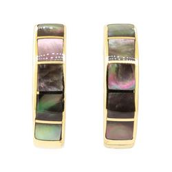Inlaid Black Mother of Pearl J-Style Earrings - 14KT Yellow Gold
