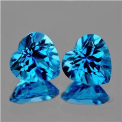 Natural Swiss Blue Topaz Heart Pair 9.00 MM - AAA