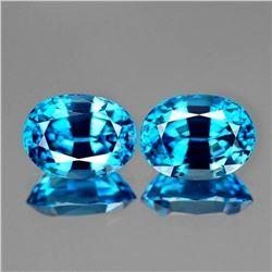 Natural  AAA Cambodian Blue Zircon Pair 7x5 MM