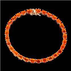 Natural Mexican Orange Fire Opal Bracelet